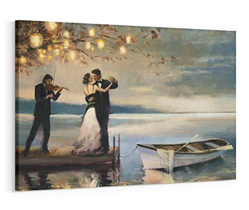 (Twilight Romance Canvas Wall Art, Romantic Couple Dancing by Lake Oil Painting Wall Art Home Decor for Living Room Bedroom Gallery Wrapped, 20x30 Inch )
