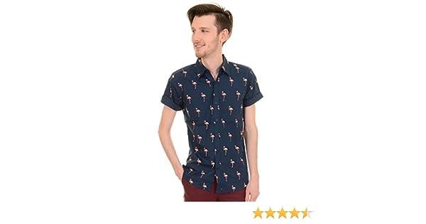Camisa para Hombre Estilo Retro de los años 50 60er Indie pijo Flamingo Camisa de Manga Corta, Nuevo: Amazon.es: Ropa y accesorios