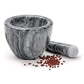 RSVP International RSVP Marble Mortar and Pestle, Grey ,Gray ,8-oz. 34 Grind herbs, spices, grains or pills in our beautiful Grey Marble Mortar and Pestle Mortar measures 2-1/2-inches tall, has a 4-1/2-inch diameter bowl, with a 5-1/2-inch long pestle Made of beautiful solid marble - each piece has a unique design and color