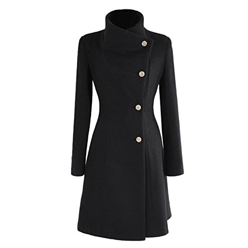 Abrigo para mujer de Nonbrabd, doble botonadura, chaqueta larga de invierno estilo vintage, tallas L M S XS negro