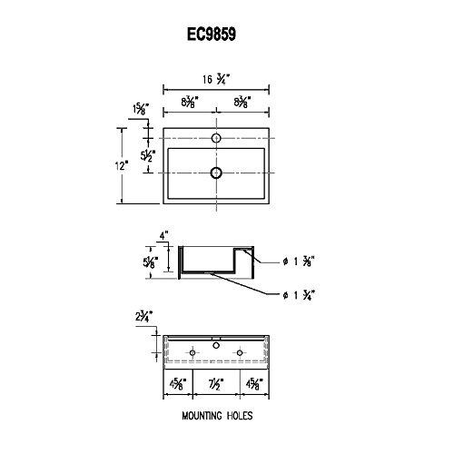 16.8 x 12 x 5.1 Inches Elanti Collection EC9859 Sink Rectangular White