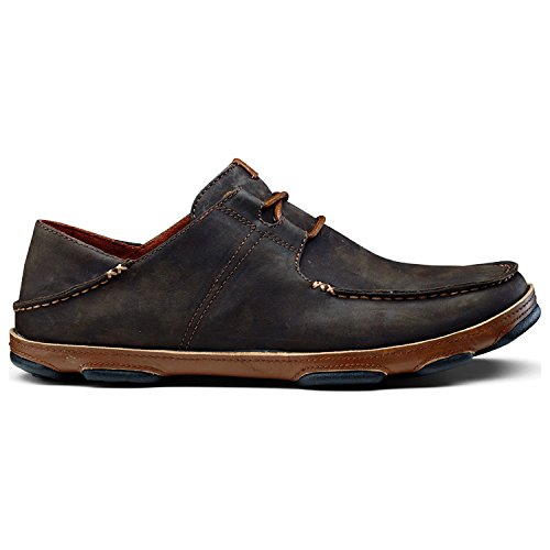 OluKai Men's Ohana Lace-Up Nubuck Moc Toe Shoe,Dark Wood/Toffee Nubuck,US 14 M