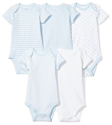 Moon and Back Baby Set of 5 Organic Short-Sleeve Bodysuits, Blue Sky, Newborn