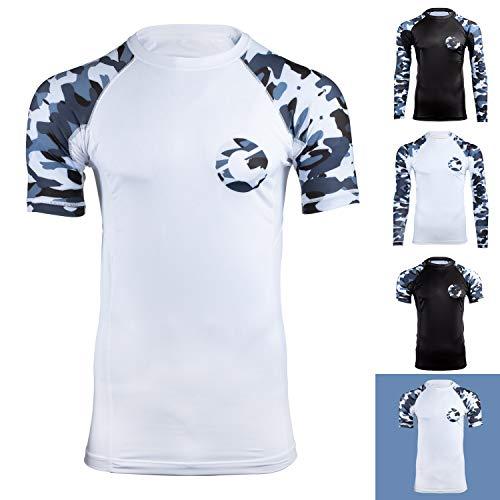- Gold BJJ Jiu Jitsu Rashguard - Camo Short Sleeve Rash Guard Compression Shirt for No-Gi, Gi, MMA (White Camo, XL)