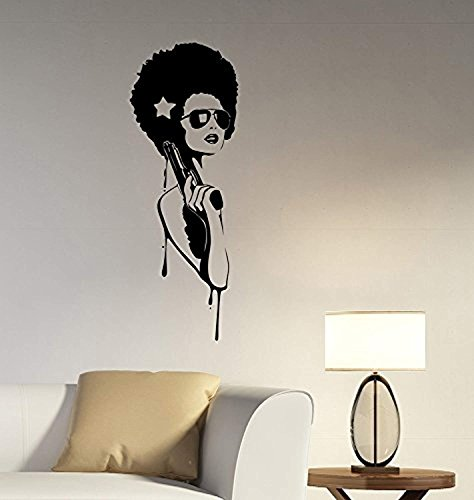 (Gangster Girl Wall Decal Sexy Hippie Glamour Woman Vinyl Sticker Fashion Art Decorations for Home Beauty Makeup Salon Studio Room Decor)