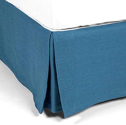 Delamaison Carol - Funda para somier, Lino, Azul, 190 x 90 cm ...