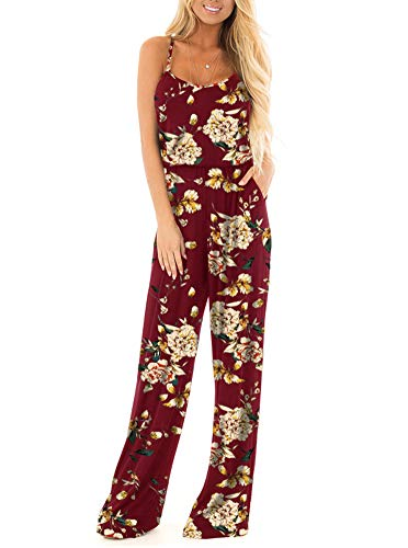 Floral Printed Jumpsuit Women Summer Boho Casual Loose Spaghetti Strap Sleeveless Open Back Wide Leg Long Pants Romper Jumpsuits Burgundy X-Large