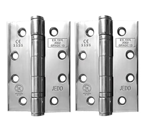 3 Pairs of Jedo Stainless Steel Ball Bearing Hinges 100mm Grade 13 + Screws (3) Frelan