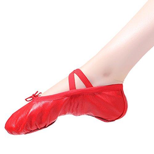 Ballettschläppchen Ballett Tanzschuhe für Damen Mädchen Kinder Gr.22-44 T-rot