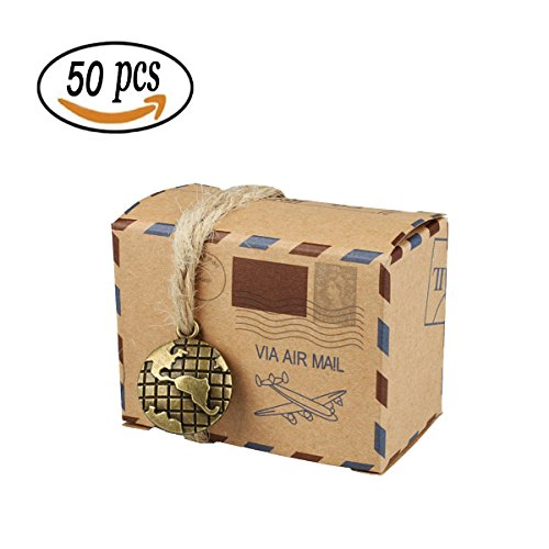 50 PCS Candy Gift Boxes, Bestga DIY Kraft Boxes Retro Post Mail Style Wedding Party Favor Gift Boxes Xmas Cookie Treat Goody Paper Boxes Bags for Christmas, Birthday, Holiday, Thanksgiving - Map