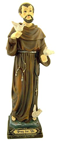 - Catholic Saints Patron of Animals Saint Francis with Doves Resin Statue Figure, 8 1/2 Inch