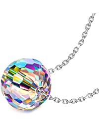 """Fantastic World"" 925 Sterling Silver 0.39 Inch Round Pendant Necklace Fine Jewelry for Women, Aurora Crystal from Swarovski"
