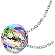 "NINASUN ""Fantastic World"" 925 Sterling Silver 0.39"" Round Pendant Necklace Fine Jewelry for Women, Aurora Crystal from Swarovski"
