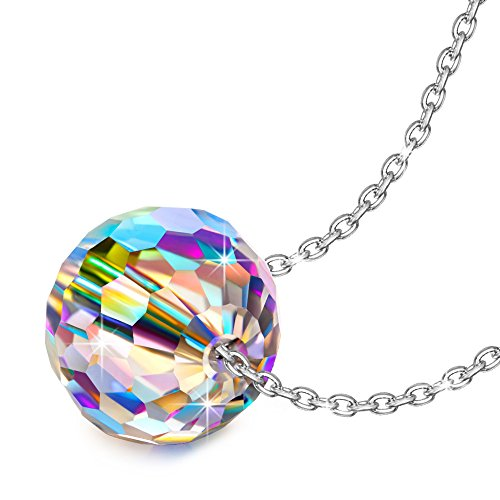 Gifts for Mom NINASUN Fantastic World s925 Sterling Silver Necklace Round Pendant Swarovski Crystal Necklace Fine Jewelry Birthday Mothers Day Gifts from for Women Wife Her Girlfriend Teens Daughter