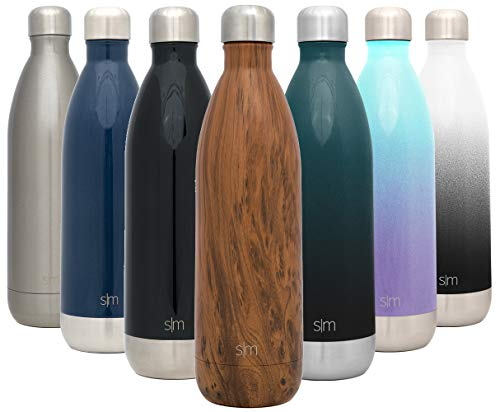 Simple Modern 34 Ounce Wave Water Bottle – Stainless Steel Liter Double Wall Vacuum Insulated Leakproof Pattern: Wood Grain
