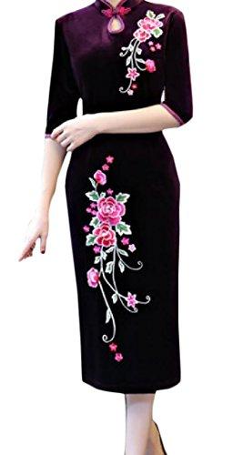 Dal Comodo Velluto Cinese Oro Scuro Vestito Le Coreana Donne Viola Qipao Stampa Collo Alla In Floreale 4AApaq