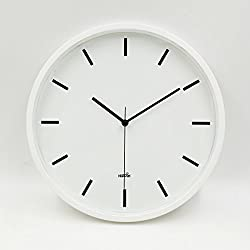 Hippih 10 Silent Quartz Decorative Wall Clock with Glass Cover Non-ticking Digital white scale
