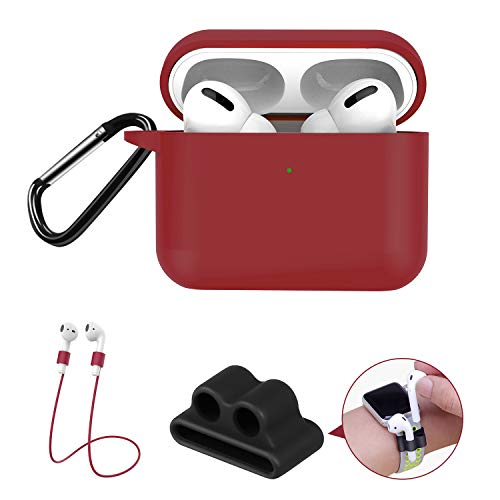 GPNP AirPods Pro Case Protective Cover for Airpods 3 Series, [Visible Front LED] Burgundy Silicone Shockproof Case, Bounce Carrying Case with Carabiner for AirPods Pro Charging Case