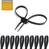 Tool Gadget Disposable Zip Tie Handcuffs, Black Flex Cuffs, 10 PCS Double Locking Zip Ties Restraints , Black Nylon…