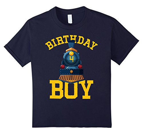 Kids Train Driver Is Turning 4 Years Old T-shirt 4 Navy