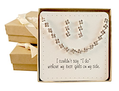 Bridesmaid Gifts - Pretty Square Rhinestone Bridal Jewelry Set (Necklace & Earrings, Silver), Set of 5