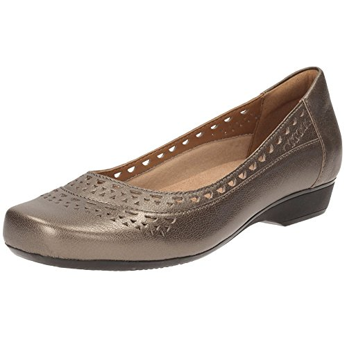 Clarks Blanche Melody Womens Shoes in Black Leather or Pewter Leather Pewter