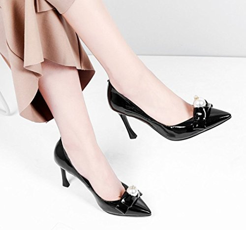 Damen Damen High Heels Stiletto Schuhe Hochzeit Abendgesellschaft Prom Wies Schuhe Pumps Gericht Schuhe Black
