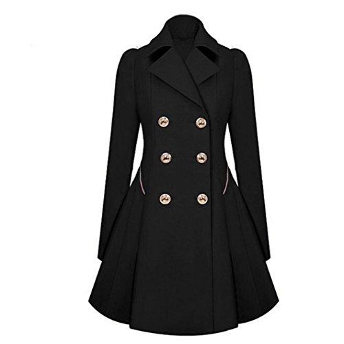 ESAILQ Mode Femmes Long Manteau Parka Lapel Neck Manteaux Hiver chaud Trench Veste Noir
