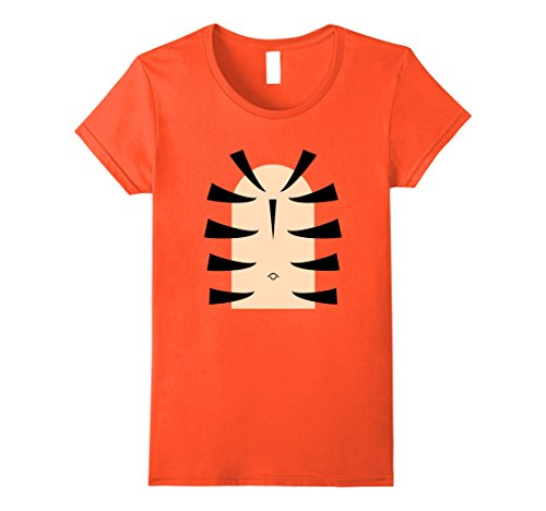 Womens Tiger Stripe Belly Last Minute Halloween T-Shirt Costume Tee Large Orange