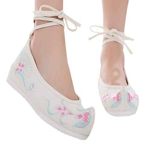 Veodhekai Womens Wedges Shoes Hibiscus Embroidered Shoes Antique Retro Soft Bottom Shoes ()