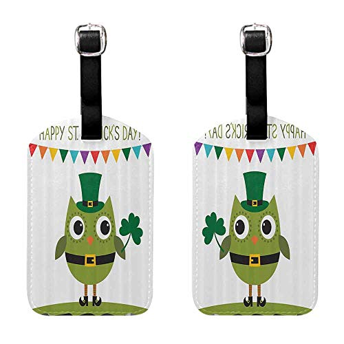 Luggage ID Tags - 2-pack St. Patricks Day,Owl with Leprechaun Costume Greeting Design for Party Shamrock Pattern,Multicolor Getaway Luggage Tag