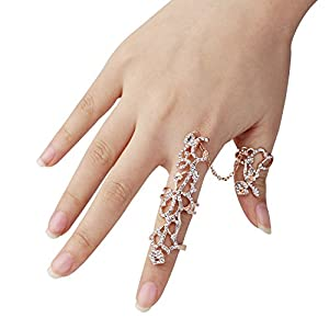 Happy Hours Knuckle Rings Set, Multiple Finger Stack Rings Adjustable Knuckle Chain Link Ring Bling Fashion Jewelry for Women and Girls