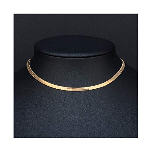 palettei Fashion Jewelry Silver Flat Soft Snake Bone Bracelets Bangle for Women Men Cuff Chain Anklet (Gold Necklace)