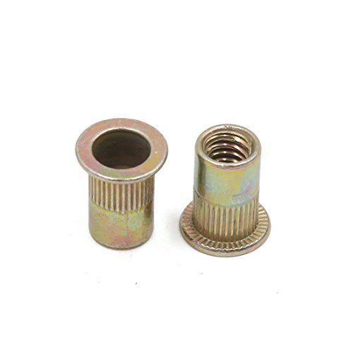 uxcell a17052300ux0571 50Pcs Copper Tone Metal 1/4-20 UNC Rivet Nut Flat Head Insert Nutsert for Car 50 Pack by uxcell (Image #2)