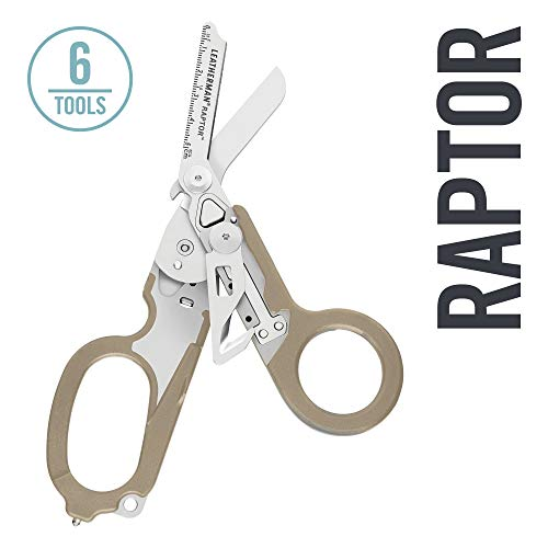 LEATHERMAN - Raptor Emergency Response Shears with Strap Cutter and Glass Breaker, Tan with Utility Holster (FFP)