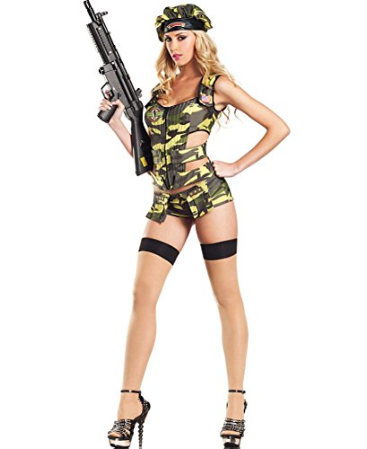 [Be Wicked BW1104 Army Brat Sexy Adult Costume - Medium/Large - Camouflage] (Adult Army Brat Costumes)