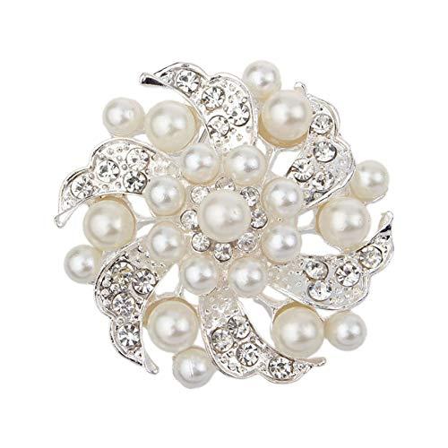 - Tanwpn Men Brooch Pin Rhinestone Noble All-Match Rhinestone Pearl Prom Brooch Pin Wedding/Daily/Birthday Jewelry Gift