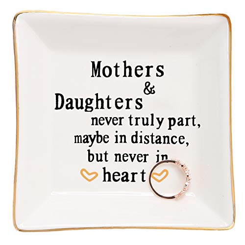 HOME SMILE Mother Gifts from Daughter Ring Trinket Dish-Mothers and Daughters Never Truly Apart, Maybe in Distance But Never in Heart Bracelet (For And Mother Gifts Daughter)
