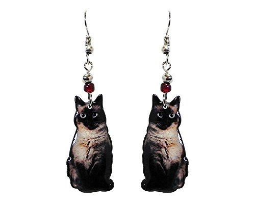 (Cat Dangle Earrings (Siamese/Black/Beige))