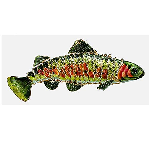 Cloisonne Fish - Home and Holiday Shops Rainbow Trout Articulated Cloisonne Metal Christmas Tree Ornament Fish Fishing