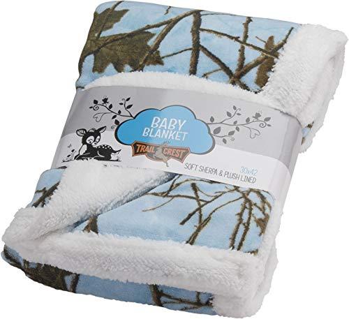 Baby Sky Forest Soft Poly fleece Sherpa Blanket 30 X 42 (Bedding Baby Camo Blue)
