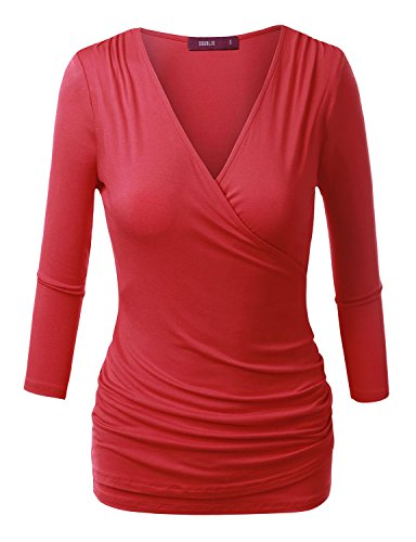 Doublju Womens Tie Dye Surplice Shirring