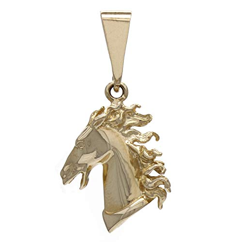 (14K Yellow Gold Fierce Horse Head Artisan-Made Charm or Pendant (3/4