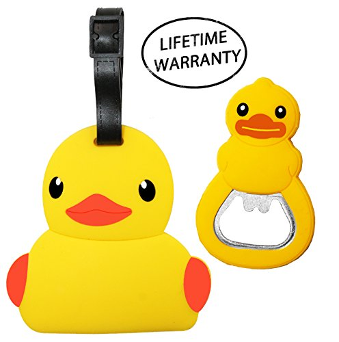 Price comparison product image DIYJewelryDepot Duck Luggage Travel Tag Bag Accessories + Ducky Bottle Opener Fridge Magnet
