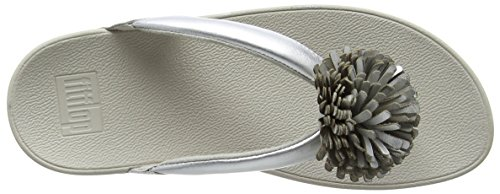 FitFlop Womens Flowerball Toe-Post Leather Sandals Plateado