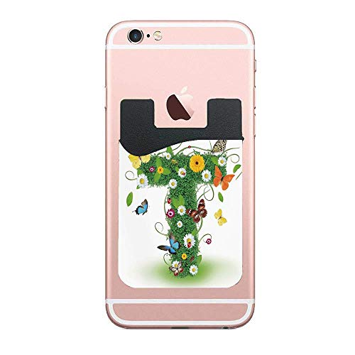 (Letter T Nature Inspired Design with Flowers and Animals Green Foliage Summer Vibes Designer 2 Pack Ultra Slim Self-Adhesive Universal Credit Card Holder Wallet for All Smart Mobile Cell)