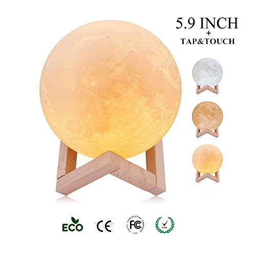 Cheap HKYUSHINE 【2018 Upgrade】 3D Printing Moon Lamp – 3 Color, Tap & Touch Control with USB Charging, Baby Night Light with Wooden Stand, Lunar Decor Gifts – 5.9 Inch