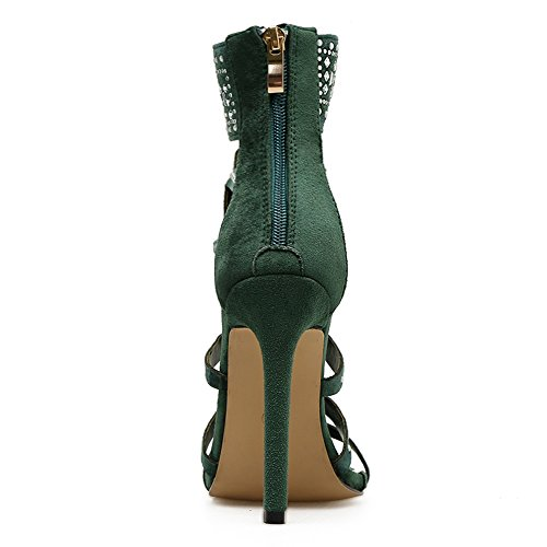 fereshte Sandals Heeled For Green Ankle Strap Summer Women Sexy qq6UT