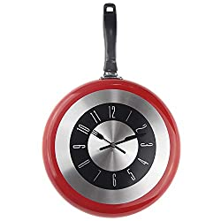 YJSMXYD Wall Clock Large 12-Inch Design Kitchen Frying Pan Metal Fashion Style Home Decoration Big Watch Modern Style Good for Home Kitchen Living Room Bedroom