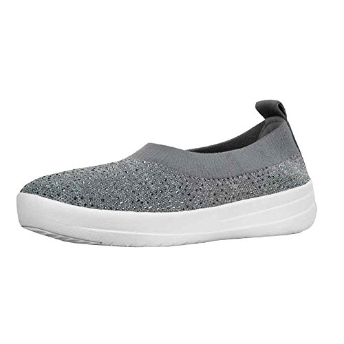 FitFlop Womens Uberknit Ballerina - Crystal Charcoal/Dusty Grey Slip-On - 8